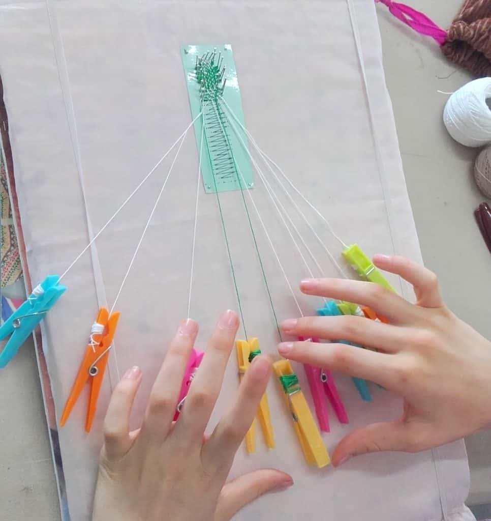 homeschoolers learning bobbin lace