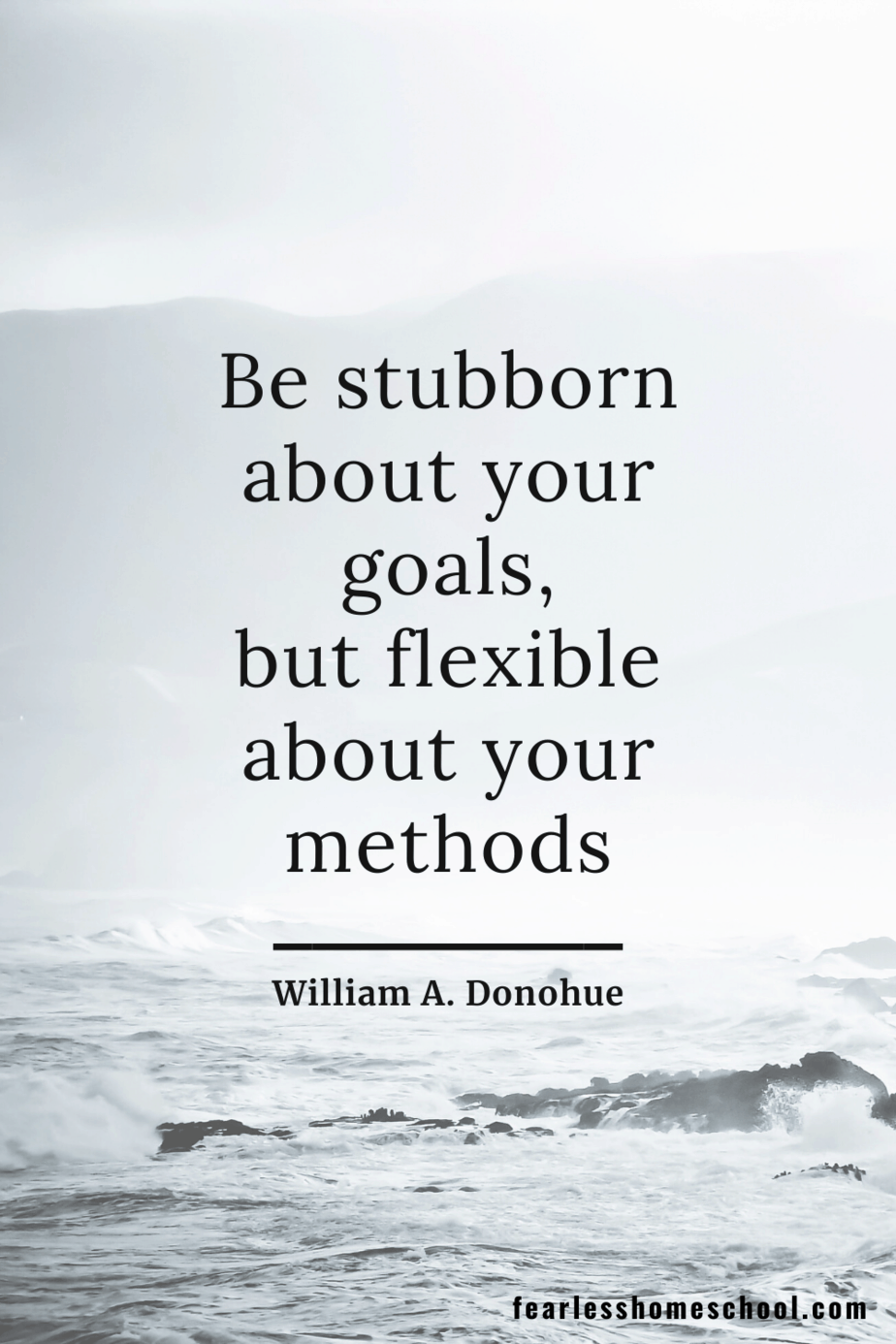 Be stubborn about your goals, but flexible about your methods William A. Donohue homeschooling quote